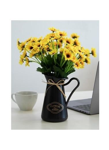 Çiçekmisin Siyah Saksıda 3 Demet Papatya Yapay Çiçek Renkli